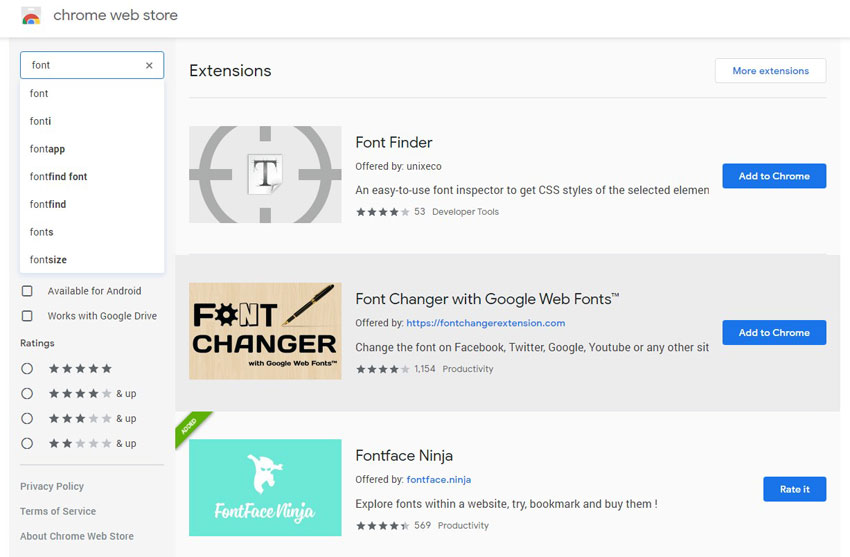 font face finder in images download from Chrome Web Store